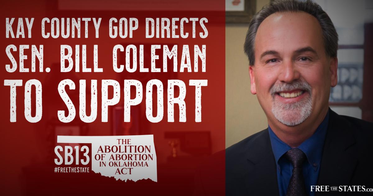 Kay County GOP Directs Sen. Bill Coleman to Support Senate Bill 13