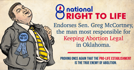 National Right to Life Endorses Greg McCortney, the Senator Who Kept Abortion Legal in Oklahoma