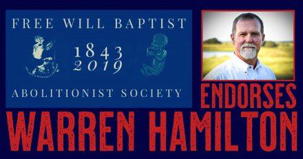 Free Will Baptist Abolitionist Leaders and Pastors Endorse Warren Hamilton
